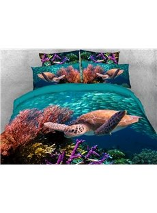 Sea Turtle and Corals Soft Warm Duvet Cover Set 4-Piece 3D Animal Bedding Set