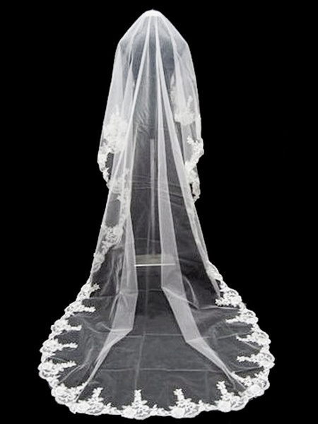 Milanoo White Wedding Veil Lace Applique One Tier Waterfall Long Bridal Veil