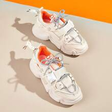 Release Buckle Strap Mesh Chunky Sneakers