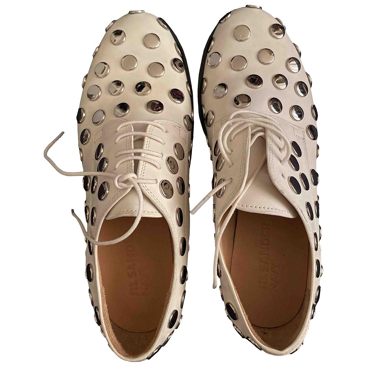 Jil Sander \N White Leather Lace ups for Women 37.5 EU