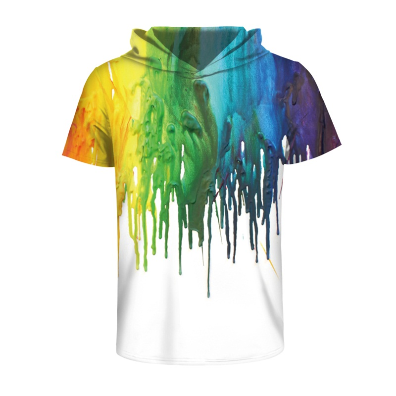Colorful Painting Comfortable Spandex High Quality 3D Short Sleeve for Men Hooded T-shirt
