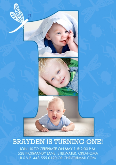 1st Birthday Invitations 5x7 Cards, Standard Cardstock 85lb, Card & Stationery -1 With Photos