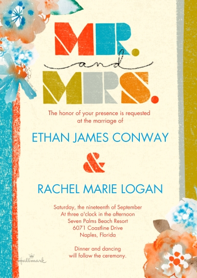 Wedding Invitations 5x7 Cards, Premium Cardstock 120lb, Card & Stationery -Colorful Stripes Mr and Mrs
