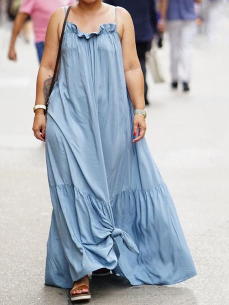 Ericdress Sleeveless Floor-Length Stringy Selvedge A-Line High Waist Dress