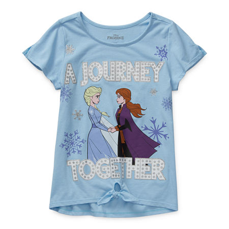 Disney Little & Big Girls Round Neck Frozen Short Sleeve Graphic T-Shirt, Xx-small (4-5) , Purple