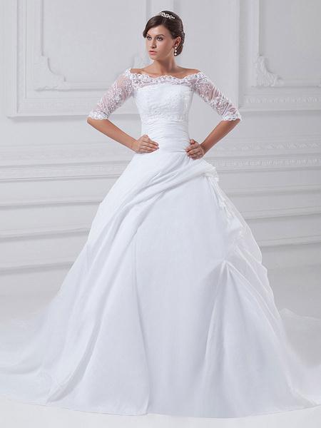 Milanoo White Ball Gown Strapless Beading Taffeta Bridal Wedding Gown