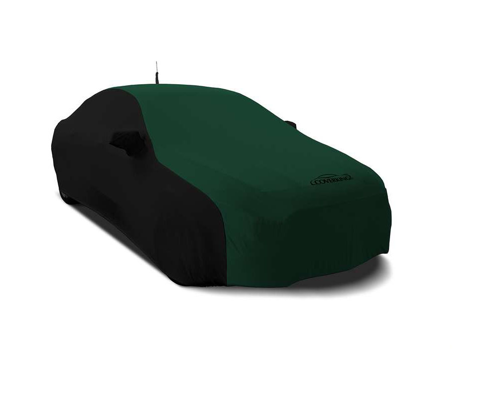Coverking CVC3SS290CH9975 CVC3SS290 Satin Stretch 2-Tone Black Sides British Racing Green Center Custom Car Cover Chevrolet Camaro 16-21