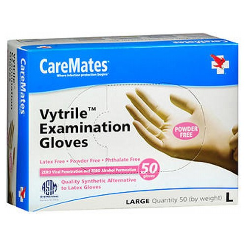 Caremates VytrilePf Examination Gloves Large 50 each by Caremates