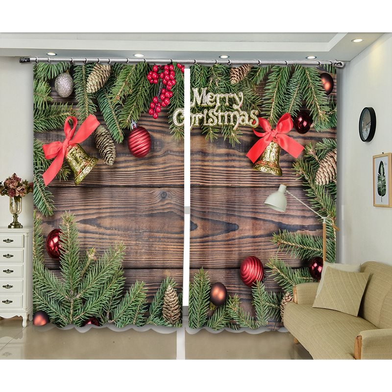 Christmas Blackout Curtains Rustic Wooden Backdrop with Pine Leaves and Decorative Ball Classic Decor Print