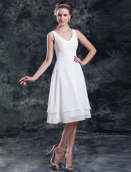 Milanoo Simple Wedding Dresses White Short Bridal Dress Chiffon Tiered Ruched Knee Length Wedding Gown