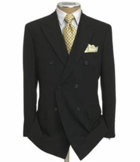 Mens Jacket and Pleated Pants Super 140s 1 Wool Solid Black