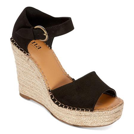 a.n.a Womens Xyla Wedge Sandals, 9 1/2 Medium, Black
