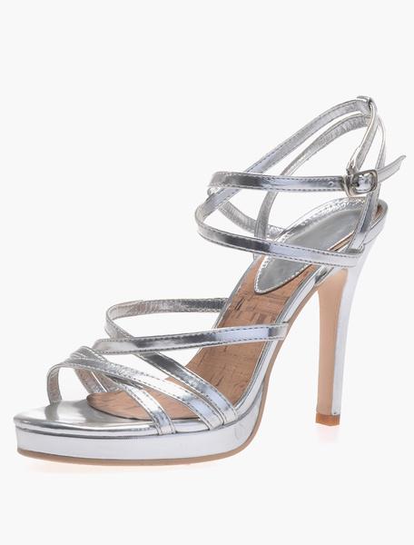 Milanoo High Heel Sandals Womens Criss Cross Open Toe Slingback Stiletto Heels Sandals