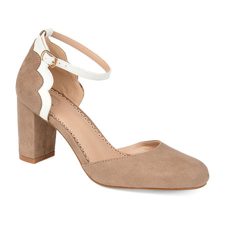 Journee Collection Womens Chandra Pumps Block Heel, 8 1/2 Medium, Beige