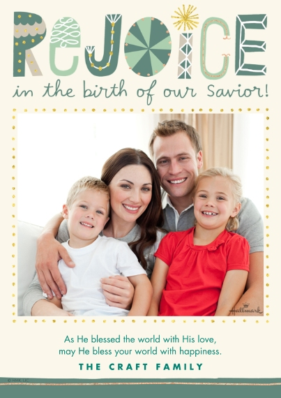Religious Christmas Cards 5x7 Cards, Premium Cardstock 120lb with Rounded Corners, Card & Stationery -Rejoice in His Birth