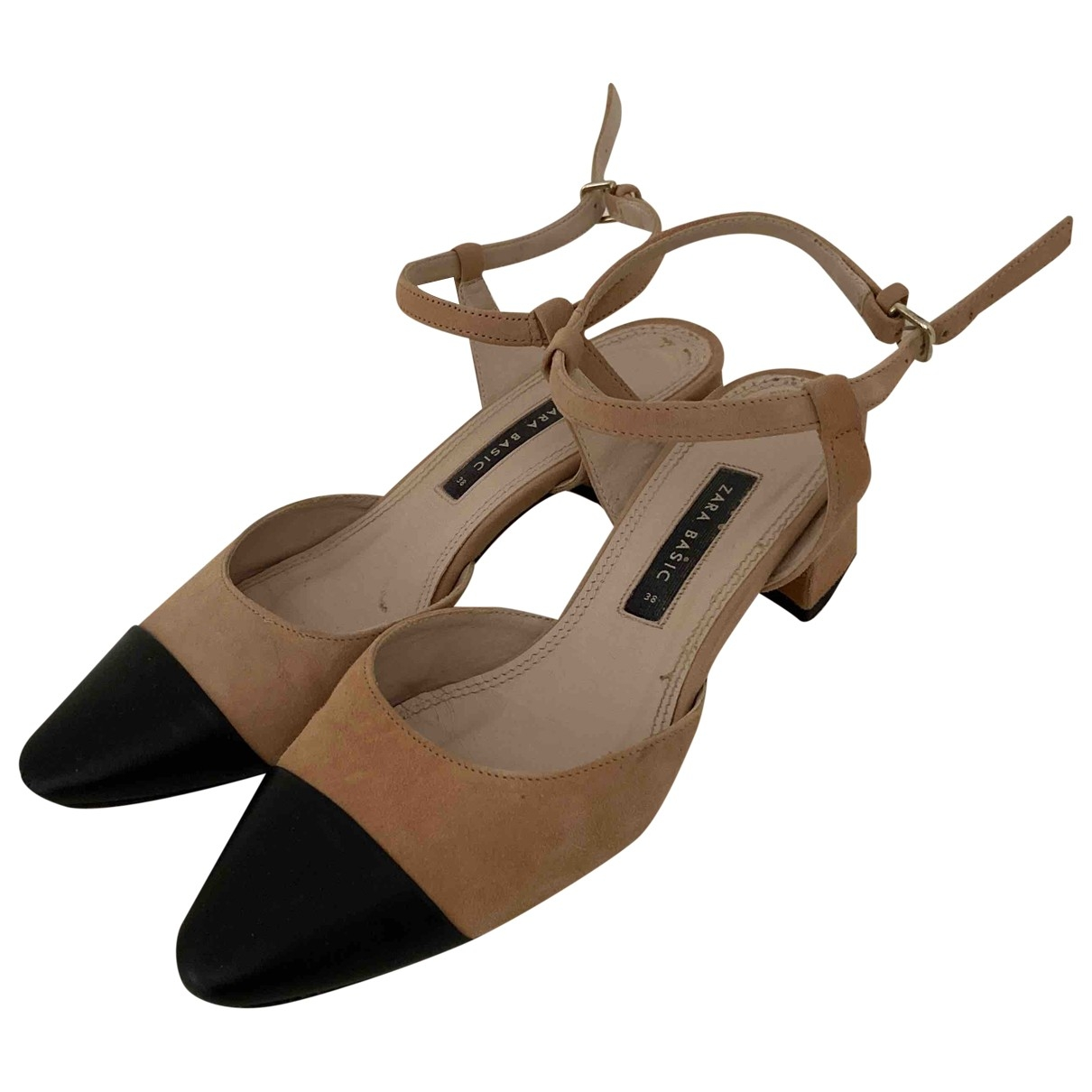 Zara \N Beige Leather Heels for Women 38 EU