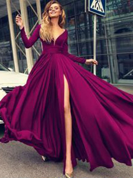 Milanoo Prom Dress 2020 A Line V Neck Elastic Silk Like Satin Long Sleeves Pleated Split Front Party Dresses