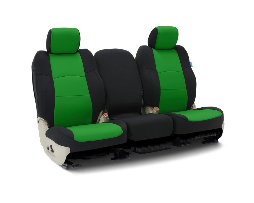 Coverking CSCF91FD10108 Custom Seat Covers 1 Row Neoprene Synergy Green   Black Sides Front Ford Ranger 2019-2021