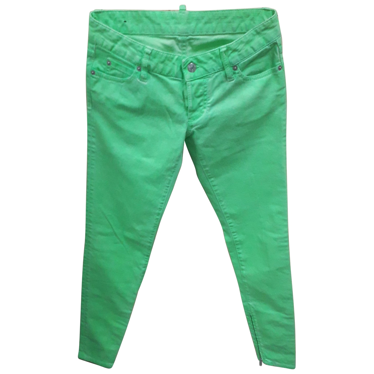 Dsquared2 \N Green Cotton Trousers for Women 40 FR