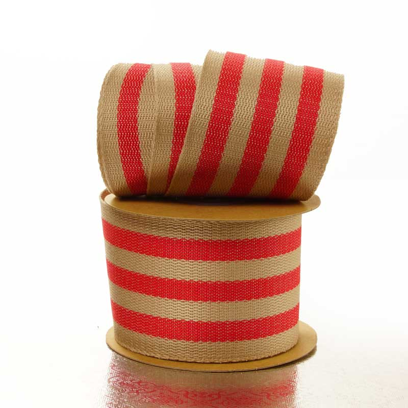"1-½"" X 10 Yards Red Wide Stripe Faux Burlap Ribbon by Ribbons.com"