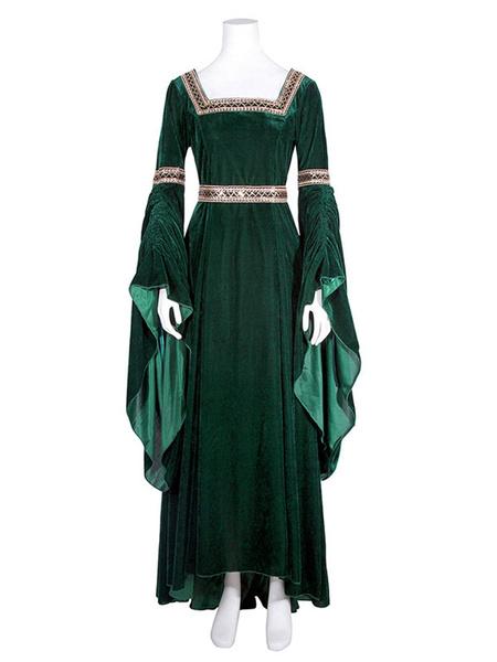 Milanoo Victorian Dress Costume Women's Royal Blue Medieval Renaissance Long Trumpet sleeve Square Neckline Victorian era Clothing Costumes Halloween
