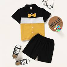 Toddler Boys Color-block Bow Neck Shirt & Shorts