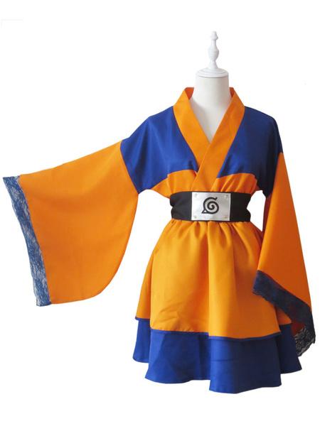 Milanoo Naruto Uzumaki Naruto Halloween Cosplay Costume Kimono Lolita Dress