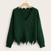 Plus Frayed Edge Drop Shoulder Sweater