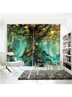 3D Blackout Fairy Fantasy Large Tree Pattern Digital Printing Curtains