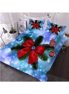 3D Christmas Comforter Bowknot Printed 3-Piece Soft Comforter Sets