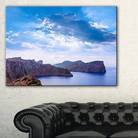 Designart Majorca Formentor Cape Rocks Canvas Art, One Size , Blue