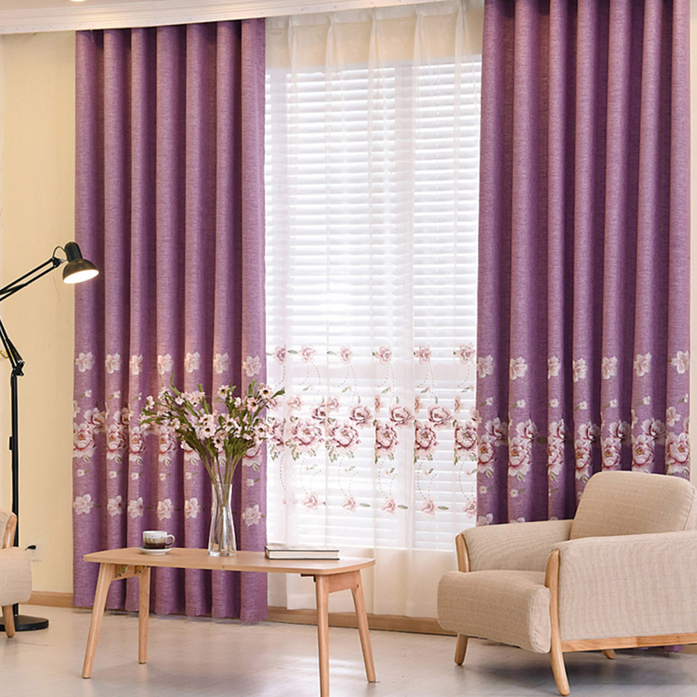 Floral Embroidered Decorative Sheer Curtains for Living Room Custom 2 Panels Breathable Drapes No Pilling No Fading No off-lining