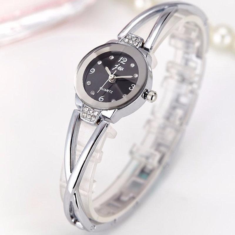 Fashion Quartz Wristwatch Gold Silver Steel Strap Round Dial Watches Sweet Jewelry for Women
