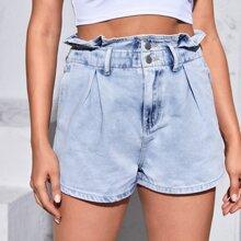 Paperbag Waist Pleated Detail Denim Shorts