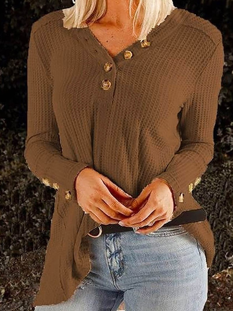 Ericdress Regular Thin Mid-Length V-Neck Sweater