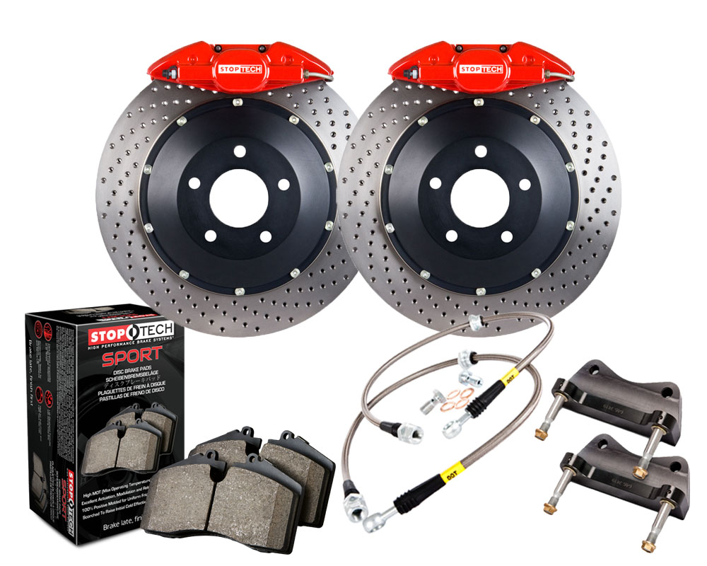StopTech 83.646.0023.72 Big Brake Kit; Blue Caliper; Drilled Two-Piece Zinc Coated Rotor; Front Rear