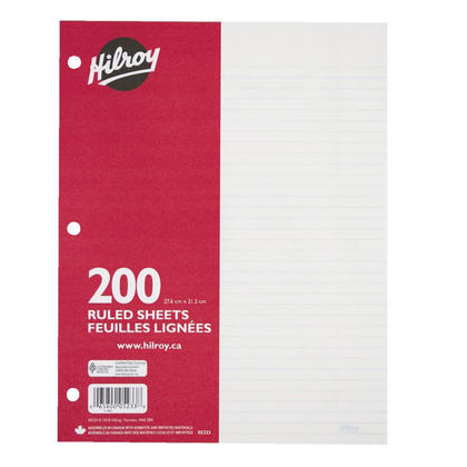 Hilroy@ 7mm Ruled Loose Leaf Sheets, 10.87