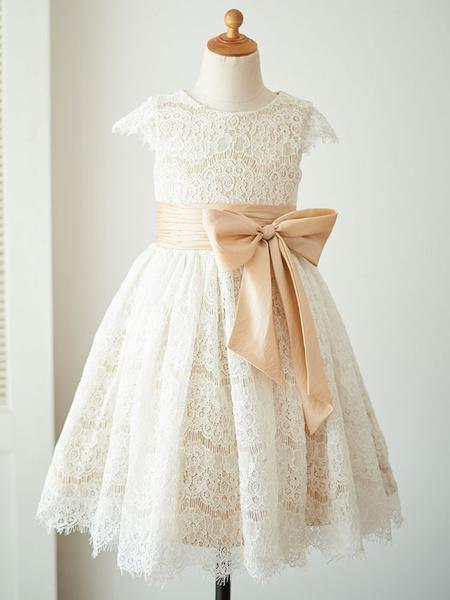 Milanoo Flower Girl Dresses Jewel Neck Satin Fabric Short Sleeves Knee Length Princess Silhouette Bows Kids Party Dresses