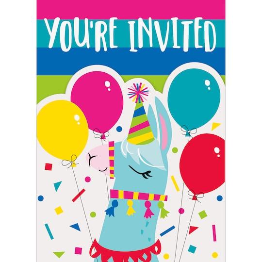 Llama Birthday Invitations, 8Ct By Unique   Michaels®