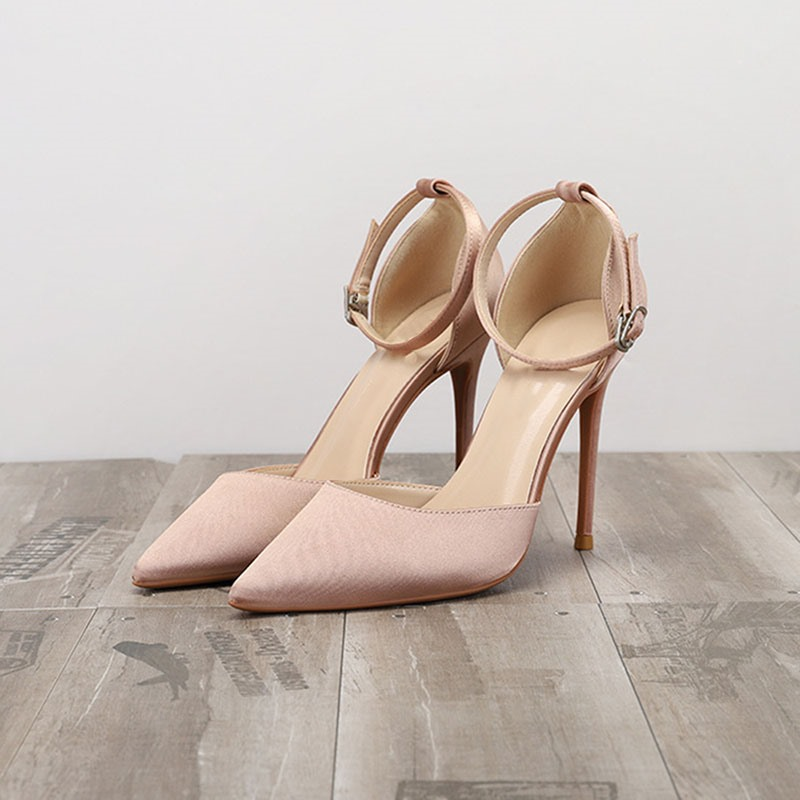 Ericdress Line-Style Buckle Stiletto Heel Pointed Toe Plain Sandals
