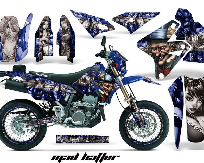 AMR Racing Graphics MX-NP-SUZ-DRZ400SM-00-18-HAT S U Kit Decal Sticker Wrap + # Plates For Suzuki DRZ400SM 2000-2018 HATTER SILVER BLUE
