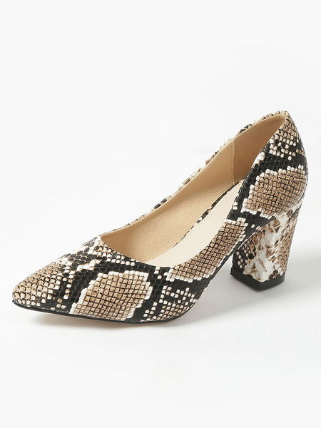 Milanoo Women\'s Pumps Pointed Toe Snake Print Chunky Heel Python High Heel Shoes