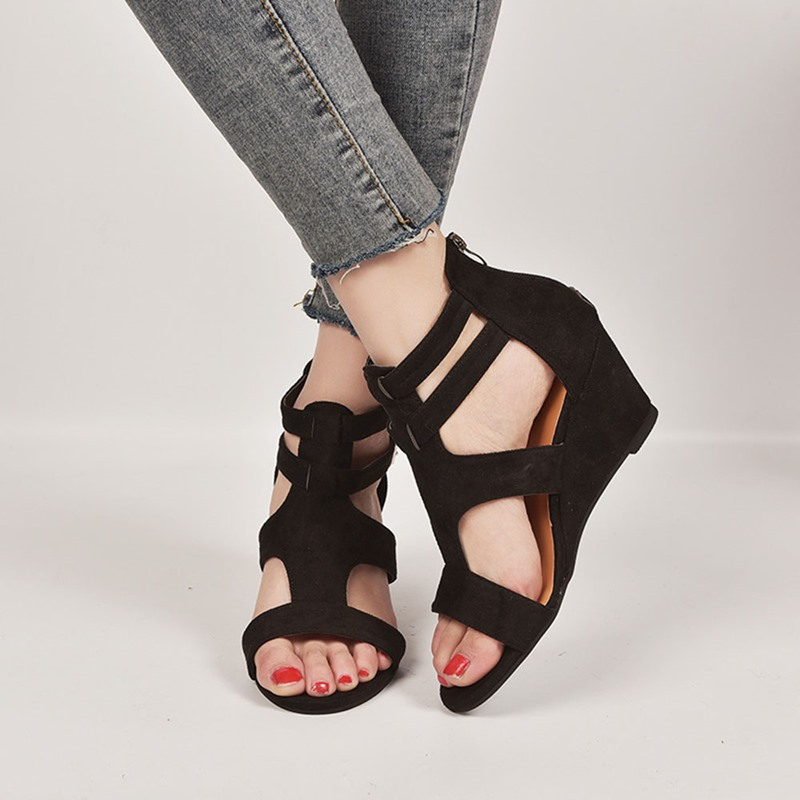 Ericdress Heel Covering Peep Toe Buckle Buckle Sandals