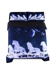 Running Horses under Moonlight Printed Cotton 4-Piece 3D Bedding Sets/Duvet Covers