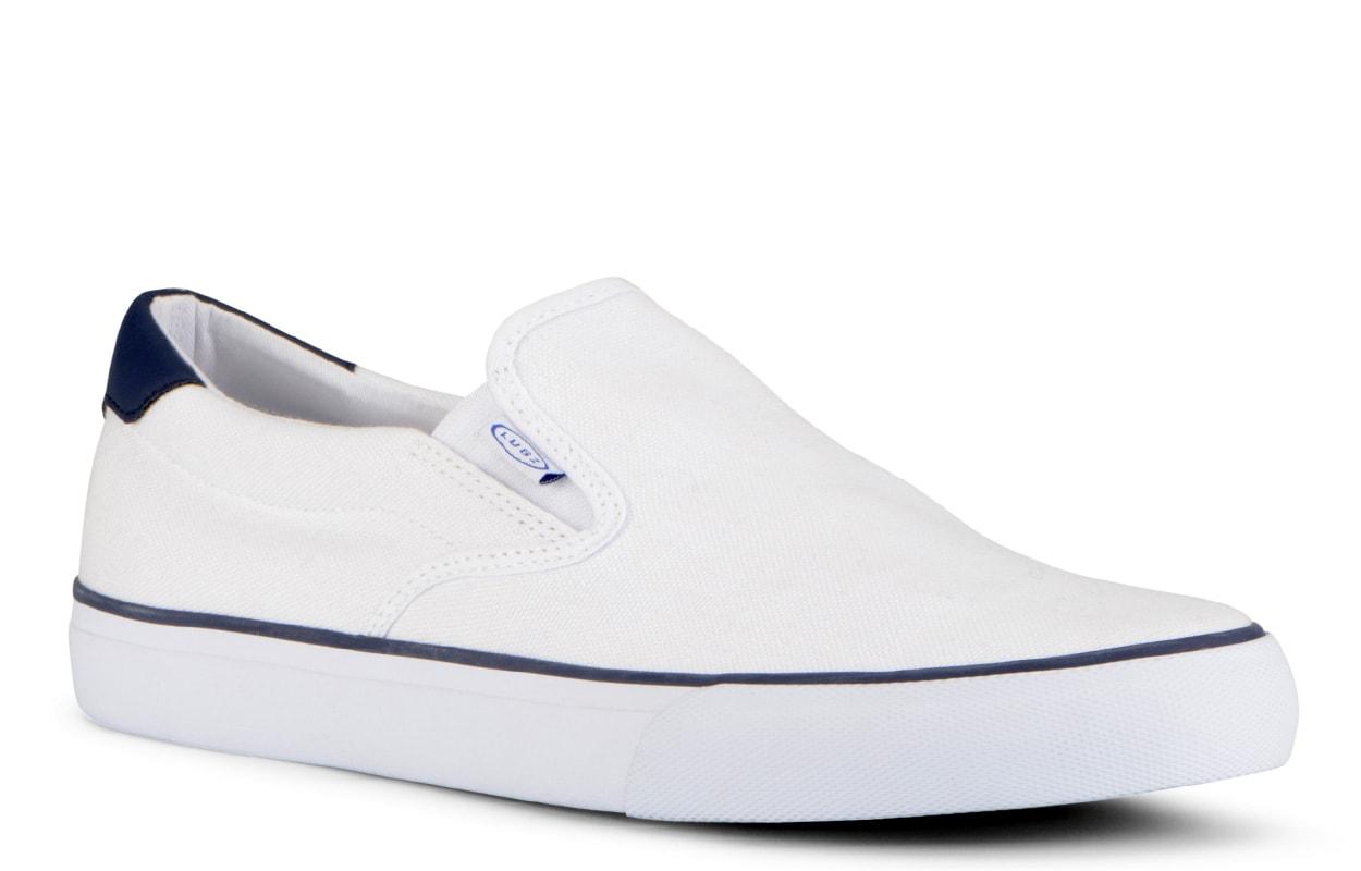 Men's Clipper Slip-On Sneaker (Choose Your Color: WHITE/PEACOAT BLUE, Choose Your Size: 9.5)