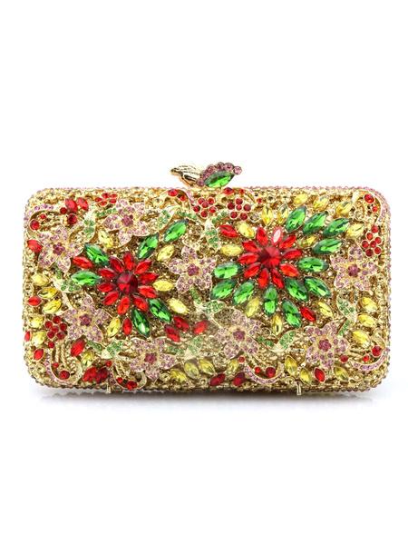 Milanoo Evening Clutch Bags Rhinestone Cut Out Stars Print Magnetic Snap Closure Wedding Handbag