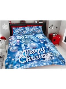 Blue Christmas Decorative Balls 3D Printed 4-Piece Polyester Bedding Sets/Duvet Covers