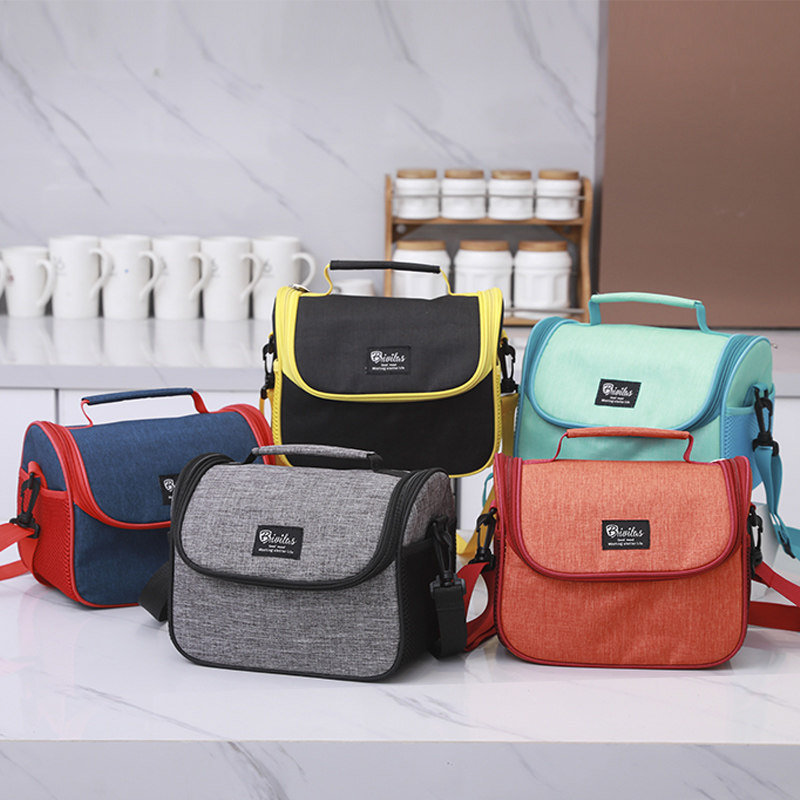 Portable Travel Insulated Cooler Lunch Bag With Shoulder Strap Office Outdoor Picnic Tote Bag