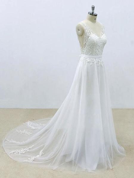 Milanoo Simple Wedding Dress A Line V Neck Sleeveless Lace Bridal Dresses With Chapel Train