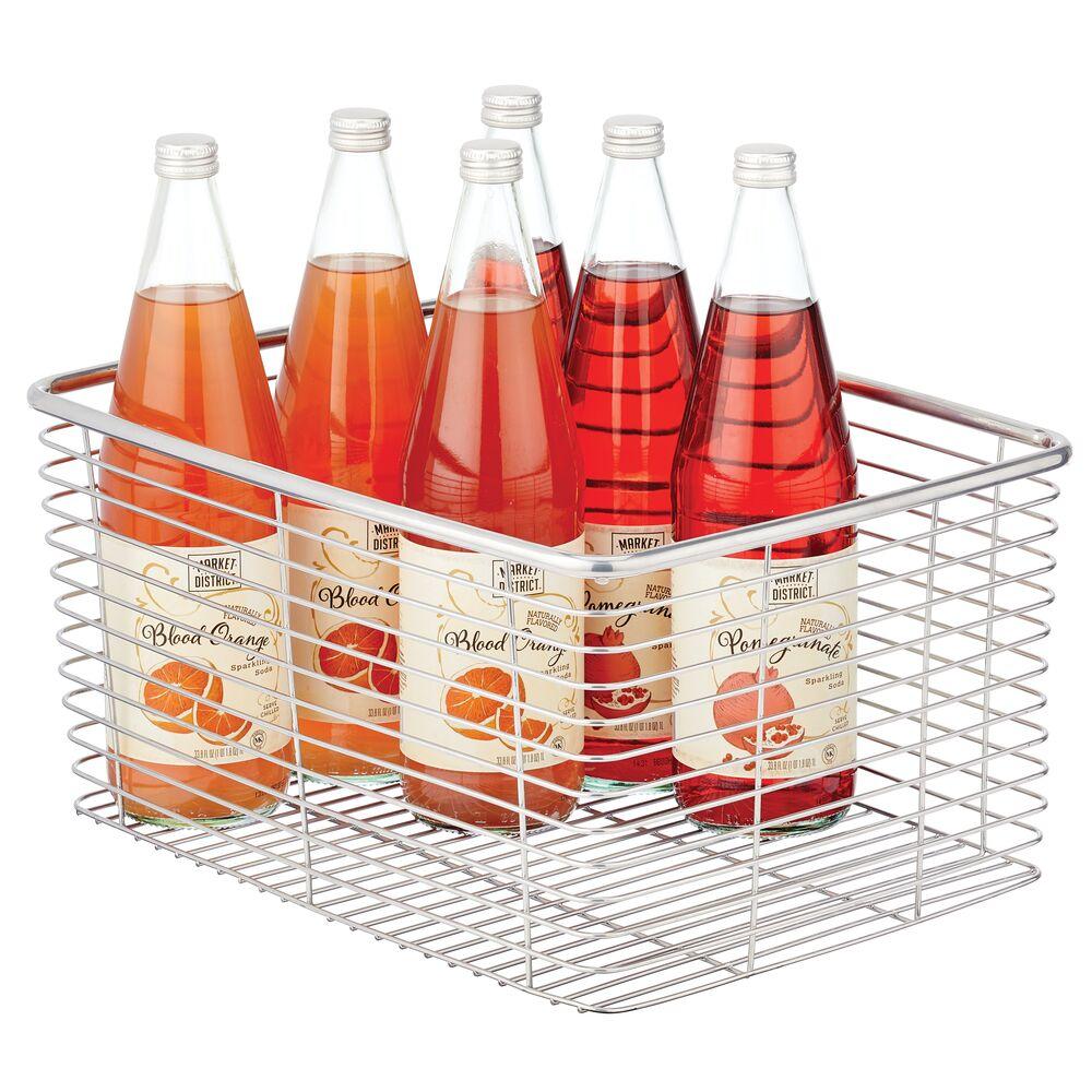 Metal Wire Food Organizer Storage Bin in Chrome, 16 x 12 x 8, by mDesign